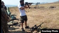 Dan Bilzerian at a shooting range in Nagorno-Karabakh, August 2018