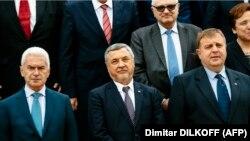 """Лидерите на трите партии от """"Обединени патриоти"""" Волен Сидеров, Валери Симеонов и Красимир Каракачанов"""