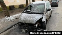 The burned-out car of RFE/RL journalist Halyna Tereshchuk in Lviv.