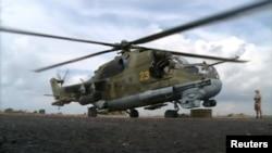 Один із російських вертольотів на авіабазі Хмеймім у Сирії (ілюстративне фото)