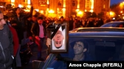 People celebrated on the streets of Yerevan overnight on April 21 after riot police retreated.
