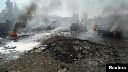 Pamje pas një eksplodimi të mëparshëm në Damask