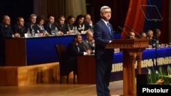 Armenia - President Serzh Sarkisian addresses a congress of his Republican Party, Yerevan, 24May2014.