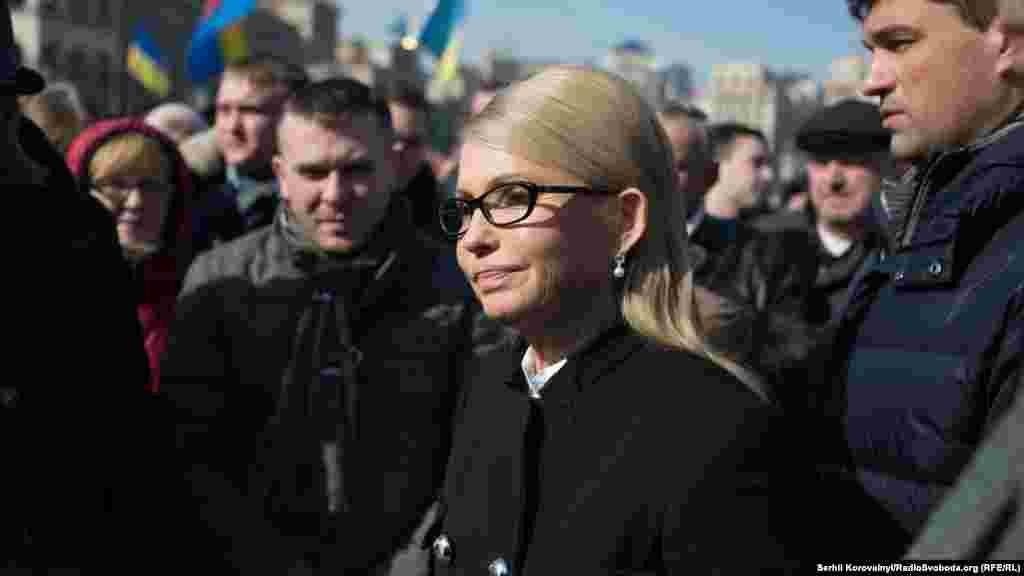 Також на мітингу була голова партії «Батьківщина» Юлія Тимошенко, від партії якої Надія Савченко обрана народним депутатом України.