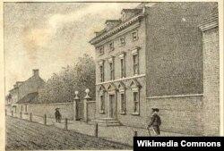 Филадельфия. Третья президентская резиденция. Джордж Вашингтон жил в ней с ноября 1790 по март 1797 года. Художник Уильям Бретон.