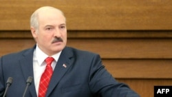Belarusian President Alyaksandr Lukashenka speaks to lawmakers during his annual address in Minsk on April 21.
