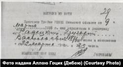 Акт про розстріл Григорія Радецького