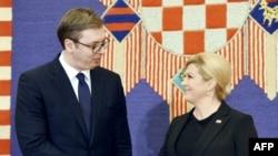 Aleksandar Vučić, predsednik Srbije i Kolinda Grabar Kitarović, predsednica Hrvatske tokom susreta u Zagrebu u februaru 2018