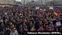Митинг сторонников Садыра Жапарова. 2 марта 2020 года.