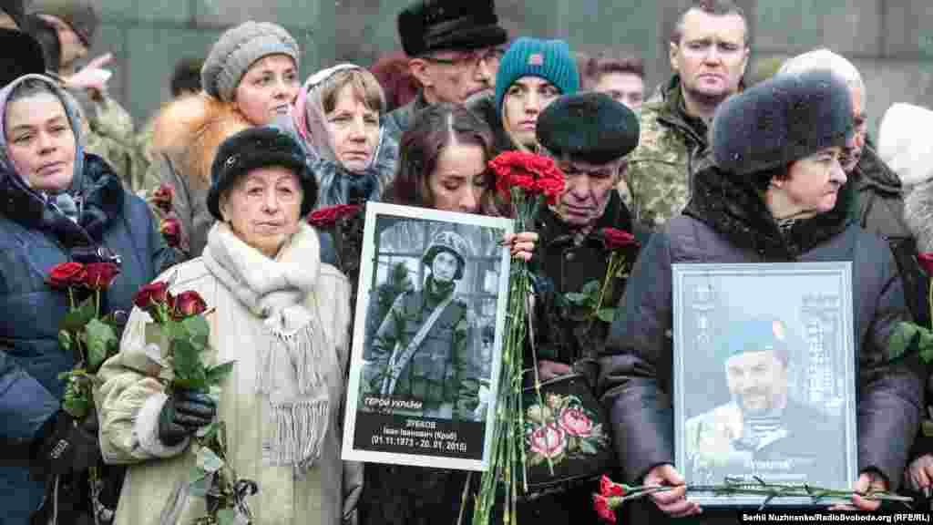 Relatives attending a ceremony commemorating the servicemen killed while defending the Donetsk airport during the war against Russia-backed separatists in the east of the country in 2015.