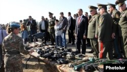 Armenia - Defense Minister Seyran Ohanian (C) inspects equipment used by the Armenian army's reconnaissance units, Arzni, 5Nov2013.