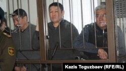 """Трое подсудимых по """"Хоргосскому делу"""". Алматы, 11 марта 2014 года."""