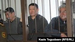«Қорғас ісі» бойынша соттағы 45 айыпталушының үшеуі. Алматы, 11 наурыз 2014 жыл.