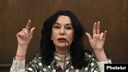 Armenia - Naira Zohrabian, a senior member of the Prosperous Armenia Party, holds a press conference, December 28, 2020