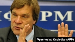 """""""We wished, we really sincerely hoped, that we could help by telling the truth,"""" says Finnish politician Kimmo Kiljunen, who led the Kyrgyzstan Inquiry Commission, shown here in Bishkek on May 3, 2011."""