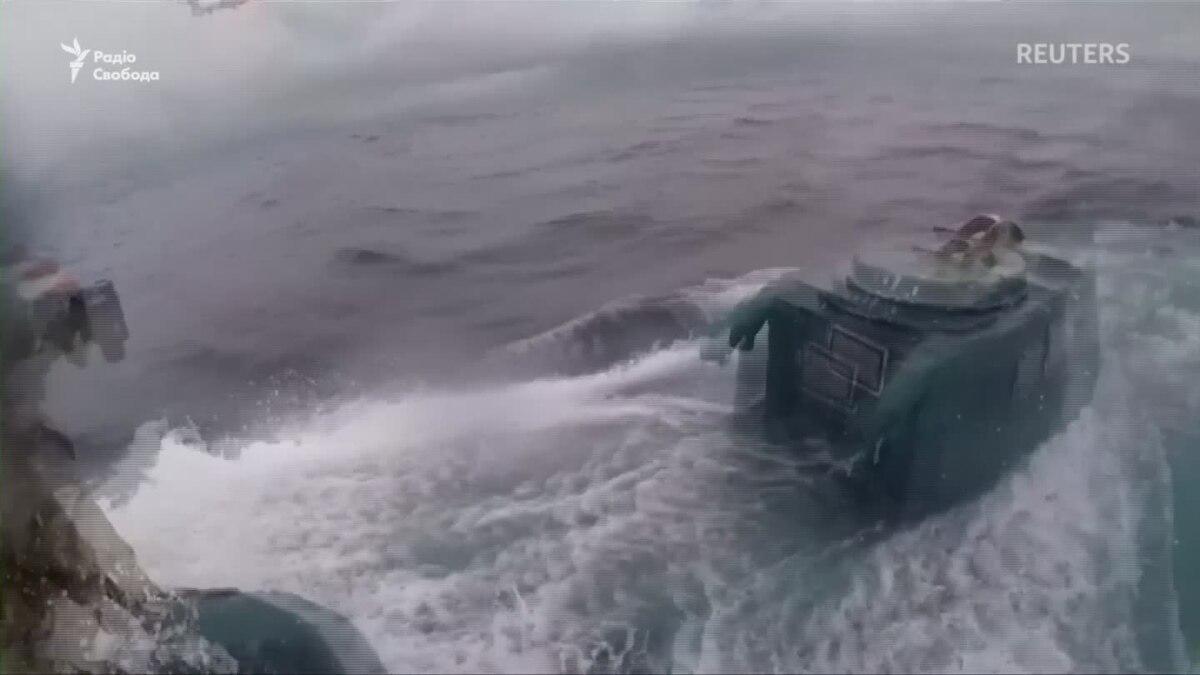 Кадры захвата береговой охраной США мини-подводной лодки с наркотиками – видео