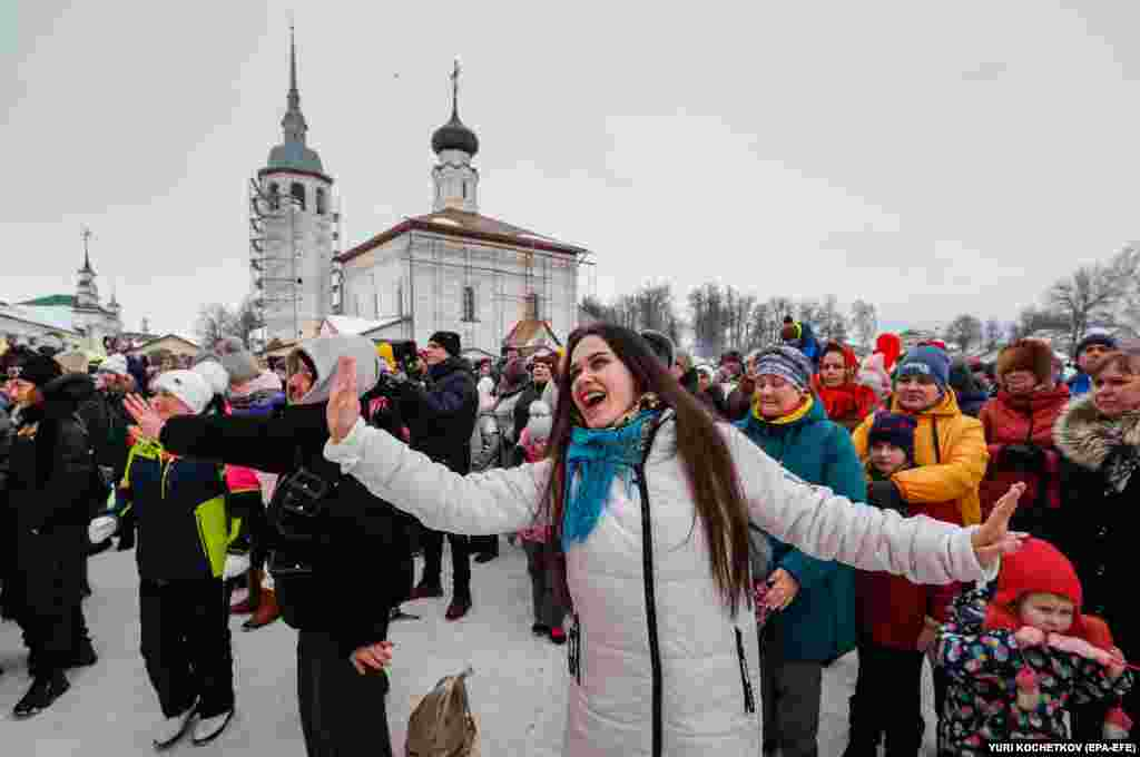 Russians dance during the Maslenitsa festival in Suzdal.