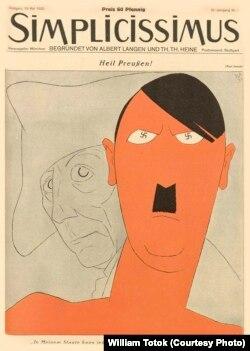 """Caricatura lui Hitler (""""Simplicissimus"""", anul 37, nr. 7, 1932, p. 73)."""