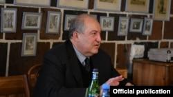 Armenia -- Armenian President Armen Sarkissian meets with public figures in Gyumri, December 25, 2020.