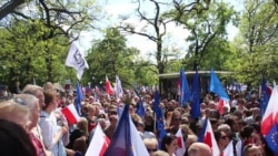 warsaw poland demonstration in support of constitution