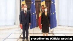 Ministrul afacerilor externe al României, Bogdan Aurescu, alături de președinta R. Moldova, Maia Sandu, 23 iulie, 2021