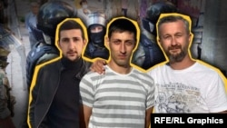 Азиз Ахтемов, Асан Ахтемов и Нариман Джелял на фоне российских силовиков. Коллаж