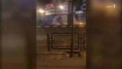 ویدئویی از حضور نیروهای امنیتی و ماشینهای آبپاش در تهران- غروب سهشنبه