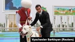 Заслуженный собаковод и сын президента Сердар Бердымухамедов (справа) и алабай
