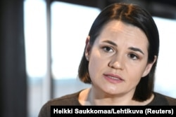 Svyatlana Tsikhanouskaya speaks during an interview with the media in Helsinki on March 1.