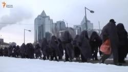 Акция ипотечников в Алматы