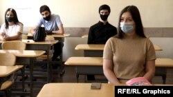 Ереван мемлекеттік университеті студенттері дәрісте отыр. Армения, 11 қыркүйек 2020 жыл.