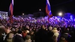 Тысячы крымчанаў сьвяткуюць вынікі «рэфэрэндуму»