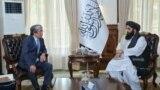 Kazakhstan's ambassador Alimkhan Esengeldiyev meets with the Afghanistan's acting minister of foreign affairs Amir Khan Muttaqi.