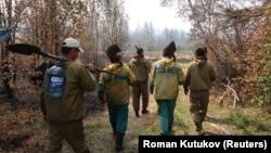 Добровольцы на тушении пожаров, Якутия