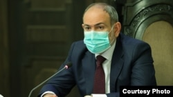 Armenian Prime Minister Nikol Pashinian speaks at a session of the country's Security Council on May 13.