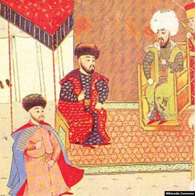Майбутній кримський хан Девлет І Герай (крайній ліворуч) на прийомі в султана Баязіда