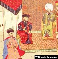 Будущий крымский хан Девлет I Герай (крайний слева) на приеме у султана Баязида