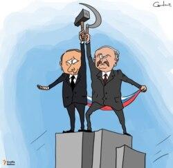 Russian and Belarusian leaders Vladimir Putin and Alexander Lukashenko in a cartoon by artist Gunduz Agayev