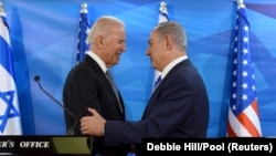 Президент США Джо Байден (слева) и премьер-министр Израиля Биньямин Нетаньяху, архивное фото