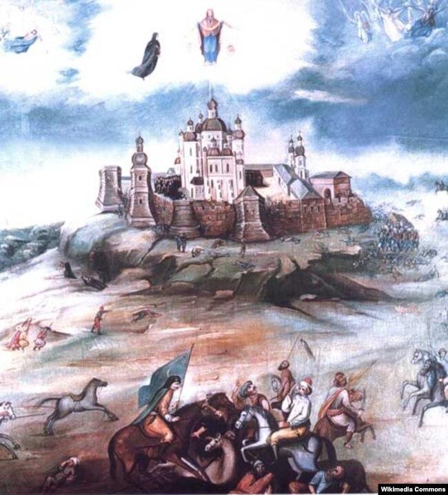 Явлення Богоматері на Почаївській горі, 23 липня 1675 року під час вторгнення турецького війська (картина 1800 року)