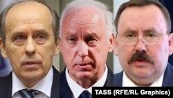 FSB Director Aleksandr Bortnikov (left); Investigative Committee head Aleksandr Bastrykin (center); and prison service chief Aleksandr Kalashnikov are among the seven top Russian government officials targeted by new U.S. sanctions. (combo photo)