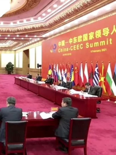 CHINA -- Chinese President Xi Jinping and other officials at China-CEEC Summit 2021, Beijing, Feb 9, 2021.