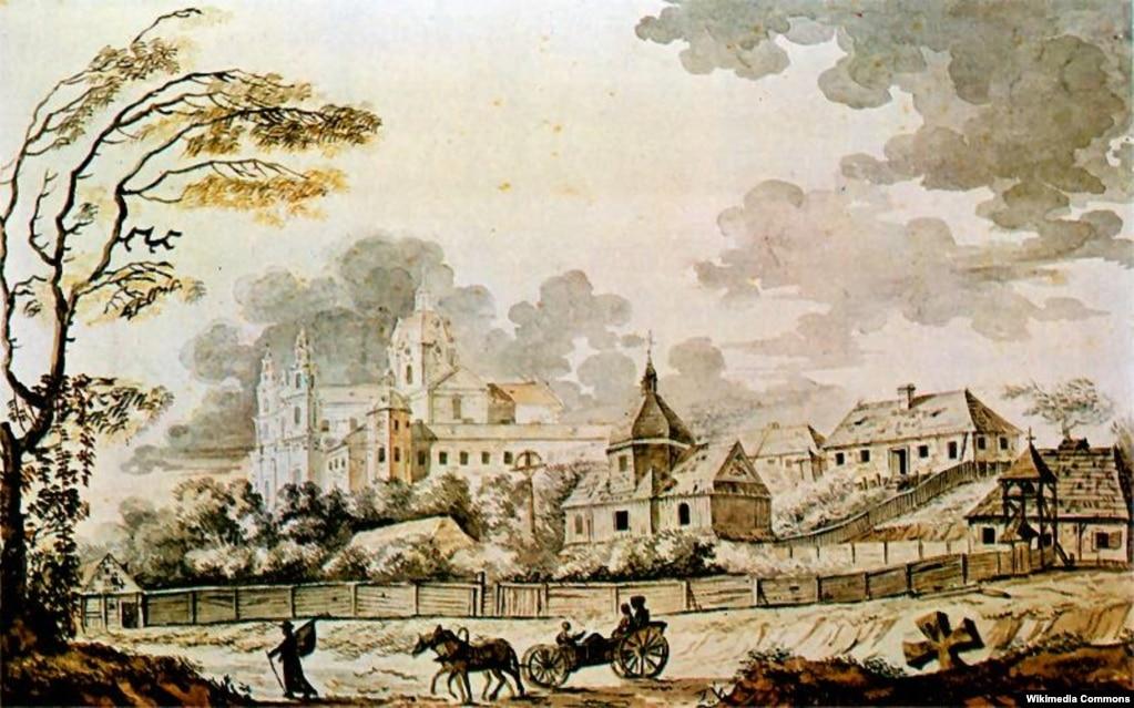 Почаївська лавра в 1791 році. Картина художника Зиґмунта Фоґеля (аварель)