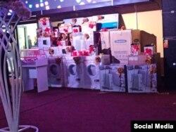 Бытовая техника, которая была выставлена на свадьбе сына Жалила Атамбаева в качестве подарков гостям за участие в конкурсах.