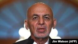 محمد اشرف غنی رئیس جمهوری افغانستان در جریان کنفرانس خبری در واشنگتن