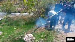 عکسی که خبرگزای ایرنا از قطع درختان منطقه کهمان توسط سازمان منابع طبیعی با هدف «رفع تصرف اراضی» این منطقه منتشر کرده است