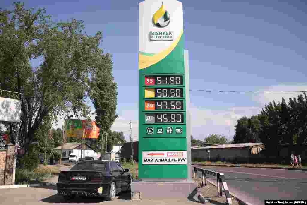 В Бишкексих АЗС цена на литр бензина марки АИ-95 стоит 54 сома 50 тыйынов, но можно найти и за 51 сом 90 тыйынов, бензин марки АИ-92 стоит 51 сом 90 тыйынов, минимум - 50 сом 50 тыйынов, АИ-80 продается по 47 сомов 50 тыйынов. Еще в марте АИ-95 стоил по 42 сома 90 тыйынов за литр, АИ-92 же стоил по 41 сом 30 тыйынов за литр, а АИ-80 - по 36 сомов 90 тыйынов. В ноябре 2020 года бензин АИ-95 стоил по 36 сомов, АИ-92 - чуть меньше 32 сомов, а дизель продавался по 33 сома 17 тыйынов за литр.