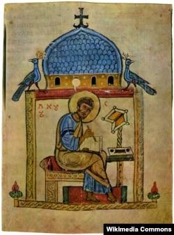 Зображення «Євангеліста Луки» – мініатюра Добрилового Євангелія. Добрилове Євангеліє – рукописне Євангеліє 1164 року, переписане на пергамент із церковно-слов'янського оригіналу дияконом Добрилом, із українськими мовними особливостями