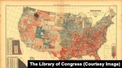 ვარაუდობენ, რომ ეს პირველი რუკაა, სადაც აშშ-ის არჩევნები ნაციონალურ დონეზეა ასახული