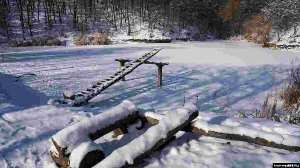 Озеро скованное льдом